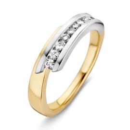 Excellent Jewelry Bicolor Dames Ring met 0,24 crt. Briljanten