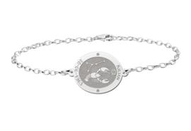 Zilveren Armband met Ovaalvormige Kreeft Sterrenbeeld Naamhanger > Names4ever
