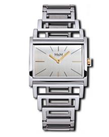 Zilverkleurig Light Line Dames Horloge met Opengewerkte band van M&M