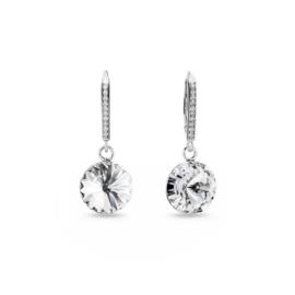 Spark Jewelry Candy Chic Oorhangers met Witte Glaskristal