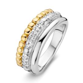 Excellent Jewelry Zilver met Gouden Ring met Zirkonia's
