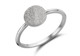 Zilveren Disc Ring Rond met Vingerafdruk | Names4ever