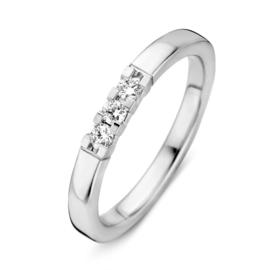 Excellent Jewelry Vlakke Witgouden Ring met Drie Diamanten