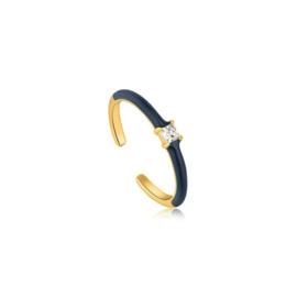 Ania Haie Bright Future Goudkleurige Ring met Blauwe Emaille
