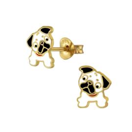 Goudkleurig Bulldog Kinderoorbellen van Zilver