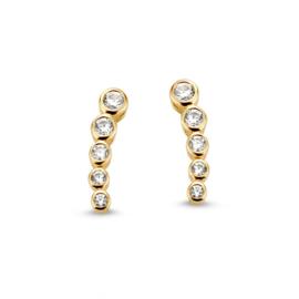 Excellent Jewelry Gouden Oorstekers met Kleurloze Zirkonia's