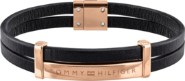 Zwart Lederen Dubbele Armband van Tommy Hilfiger