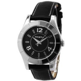Prisma Rond Dames Horloge met Zwart Lederen Horlogeband en Wit Stiksel