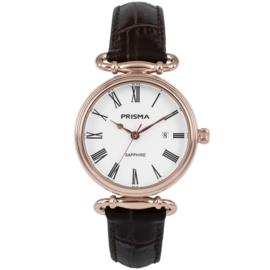 Roségoudkleurig Luxueus Dames Horloge van Prisma met Bruin Lederen Band