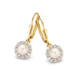 Excellent Jewelry Geelgouden Oorhangers met Zirkonia's en Parel