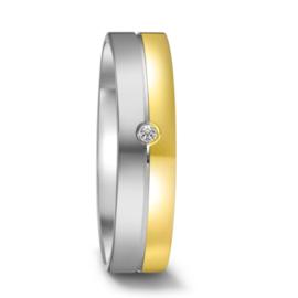 Vlakke Gepolijste Zilveren met 9 Karaat Dames Trouwring met Diamant