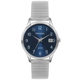 Prisma Zilverkleurig Flex Heren Horloge met Blauwe Wijzerplaat