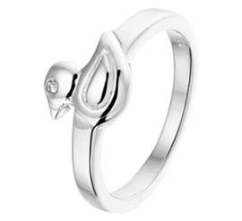 Zilveren Ring voor Kinderen met Eendje en Zirkonia