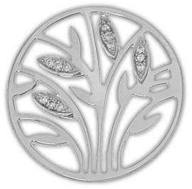 Zilveren zirkonia graanstengel munt / MY iMenso 33-0959
