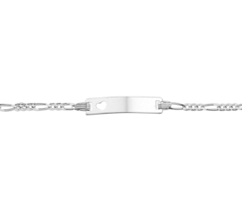 Graveer Armband met Hartplaatje en Figaro Schakel