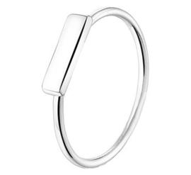 Zilveren Ring met Rechthoekig Plaatje
