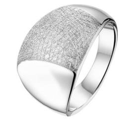 Brede Gerhodineerd Zilveren Ring met Gescratchte Strook