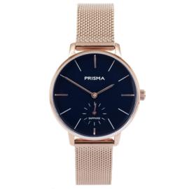 Prisma Roségoudkleurig Dames Horloge met Milanese Horlogeband