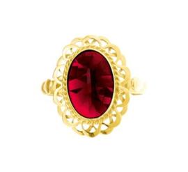 Decoratieve Vintage Gouden Ring met Granaat Steen
