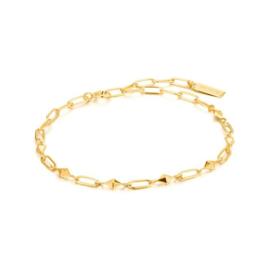 Ania Haie Spike it Up Goudkleurige Bracelet met Schakels van Zilver