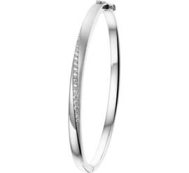 Zilveren Bangle armband met Zirkonia's