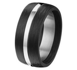 Carbon Ring met Glanzende Edelstalen Middenstrook