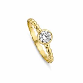 Gouden Bolletjes Ring van MY iMenso Gold met Zirkonia Kopstuk