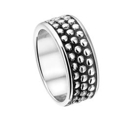 Zilveren Dames Ring met Geoxideerd Vlak / Ringmaat 17,8