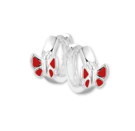 Vlinder Klapcreolen van Zilver met Rode Emaille