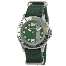 Zilverkleurig Kids Horloge met Groene Canvas Horlogeband