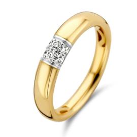 Excellent Jewelry Bolstaande Gouden Ring met Witgouden Diamant Kopstuk