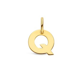 Letter Q Hanger in massief 14 Karaat Goud