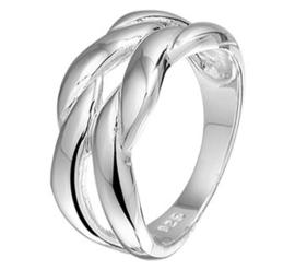 Zilveren Ring met Robuust Gevlochten Voorkant / Maat 16,5