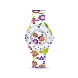 Wit Kids Horloge met Gekleurde Bloemen van Colori Junior