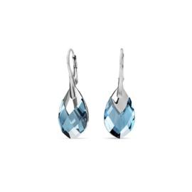 Silver Drop Oorhangers met Blauwe Kristallen