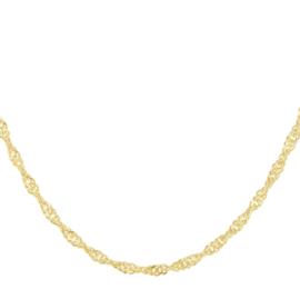 Gouden Collier van Zilver   Singapore Collier 1,7 mm 41 + 4 cm