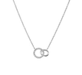 Anker Collier van Witgoud met Dubbele Cirkel Hanger en Diamanten 0.07 ct
