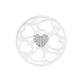 Luxueuze Zilveren Hartjes Cover Munt met Zirkonia's van MY iMenso