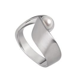 Vervormde Zilverkleurige Ring van Edelstaal met Zoetwaterparel