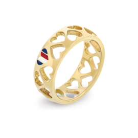 Goudkleurige Hartjes Ring voor Dames van Tommy Hilfiger / 17,25mm (ringmaat 54)