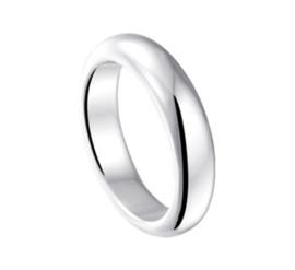 Brede Bolle Egaal Ring van Zilver / Maat 18,5