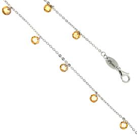 Luxe Zilveren Schakelarmband met Gele Zirkonia's
