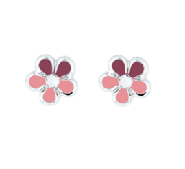 Roze Bloem Oorknoppen van Gepolijst Zilver