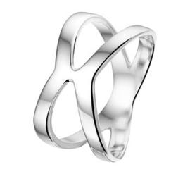 Dubbel Ovaal Ring van Gerhodineerd Zilver