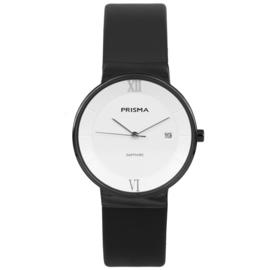 Prisma Zwart Dames Horloge met Brede Zwart Lederen Horlogeband