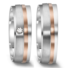 Matte Zilveren Trouwringen Set met Roségouden Lijn en Diamant