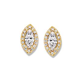 Excellent Jewelry Bladvormige Oorstekers met Zirkonia's