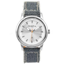 Zilverkleurig Kids Horloge met Blauwe Denim Horlogeband