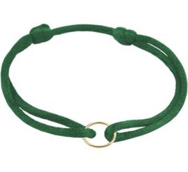 Groene Armband van Satijn met Gouden Cirkel
