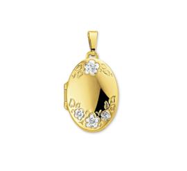 Gouden Foto Medaillon met Bloem Decoraties